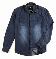 G-Star Raw Denim Shirt Men's Slim Fit Dark Blue Lightweight Long Sleeve
