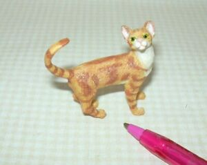 Miniature Standing Orange Striped Cat w/LONG CURLED TAIL (#2): DOLLHOUSE 1:12