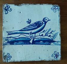 Carreau en terre cuite vernissée, XIXe, oiseau