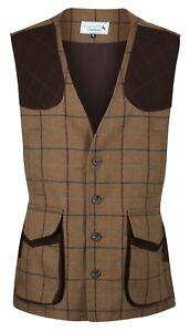 Highland 100% Wool Tweed Shooting Gilet Waistcoat Traditional Tailored Quality