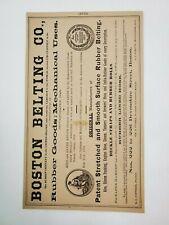 1883 Boston MA Advertisement James Roberts Machinery Boston Belting Rubber