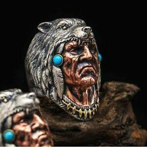 Indian Wolf Head Biker Punk Ring Men 316L Stainless Steel Warrior Rings Jewelry