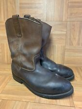 RARE🔥 Red Wing PECOS Pull On Burnished Boots Brown Leather Steel Toe Sz 12 2214