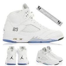 Nike Air Jordan Retro 5 V 136027-130 White Metallic Sz 16 Bulls 23 Cement Black