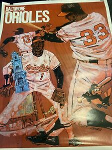 SCARCE 1971 BASEBALL PROMOTIONS/MLB~BALTIMORE ORIOLES ~23x29 INCH~POSTER PREMIUM