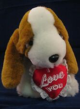 I Love You Sad Eyes Dog Heart Pillow Plush Puppy Lovey 18p17 Stuffed Valintine