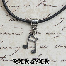 Music Note Pendant Necklace Tibetan Silver Classical Octave Unisex Jewellery