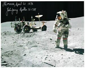 John Young Apollo 16  Photo Rover Signed Lunar Surface