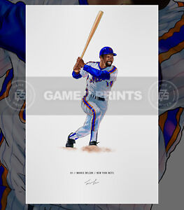 "Mookie Wilson 1986 New York Mets Baseball Illustrated Print Poster 12"" x 16"""
