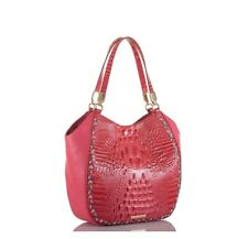 NWT Brahmin Melbourne Collection Marianna Ribbon Botany Leather Bag Pink Texture