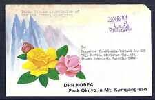 Korea Official Stampless Airmail Cover to DDR - Table Tennis Pyongyang, Floral*
