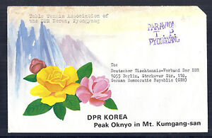 Korea Official Stampless Airmail Cover to DDR - Table Tennis Pyongyang, Floral