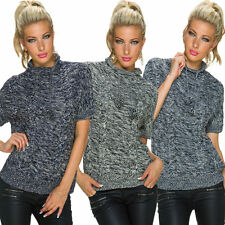 Kurzarm Damen-Pullover mit grober Strickart