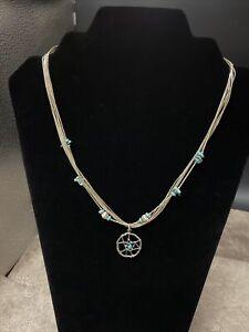 VTG SHUBE DAKOTA WEST Multi-Strand Liquid Sterling Silver Dream Catcher Necklace