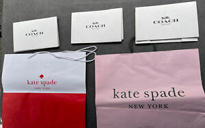"""White Coach Gift Boxes 6"""" X 10"""" Kate Spade Red & Pink Shopping Bags 5 Pc LOT"""