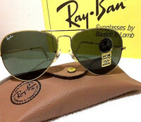 NOS VINTAGE Ray Ban Sunglasses 24kt GOLD Frame Aviator 62mm G-15 B&L USA MADE