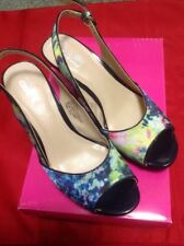 Navy Floral Open Toes Slingback Heels 5.5M - Great Spring Colors!