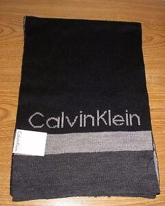 NWT CALVIN KLEIN Mens Modernist Logo Muffler Acrylic Reversible Black/Gray Scarf