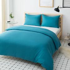 Double Size Duvet Quilt Cover & Pillowcase Comforter Cover Set Lake Blue Plain