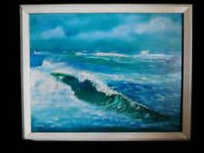 "Original Art Nautical Beach Ocean Waves Signed R. Olsen Framed 15"" x 19"""