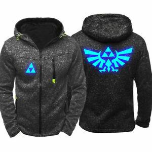 Legend of Zelda Mens Thin Hoodie Zipper Luminous Coat Jacket pocket Sweatshirt B