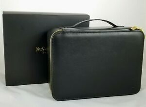 YSL Yves Saint Laurent Black Vanity Case Train Faux Leather Travel Cosmetic Bag
