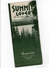Summit Lodge *** Oregon 1930's *** Brochure Ad *** Lodging