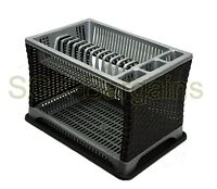 Plastic 2 Layer Tier Dish Drainer Rack Utensil Cutlery Kitchen Silver - Black BT