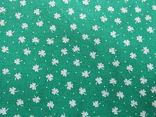 Vtg 80s cotton fabric green Shamrock clover St. Patricks Day doll clothes BTHY