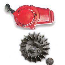 ALLOY RED PULL START STARTER + Flywheel 43-49cc POCKET ROCKET MINI DIRT ATV QUAD