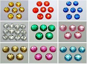 50 Acrylic Flatback Sewing Rhinestone Round Gems Button 18mm Sew on beads