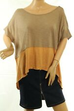 Free People Women's Top Midnight Colorblock Tee Peach Size M