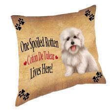 Coton De Tulear Spoiled Rotten Dog Throw Pillow 14x14