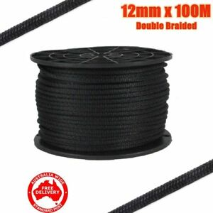 12mm x 100M Double Braided Polyester Rigging Line Yacht Rope Boat Mooring