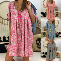 Ladies Floral Short Sleeve T-shirt Tunic Dress Summer Casual Loose Smock Dress-