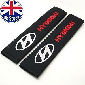 2x Hyundai Car Logo Embroidered Fabric Seat Belt Shoulder Cushion Safety Pads