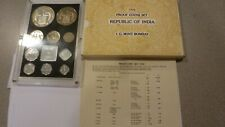 Scarce 1976 India 10 Coin Proof Set With Original Box And Certificate