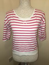 Women's Size 8 Sweater Pink White Striped Jumper W/ Cotton 3/4 Sleeve Primark