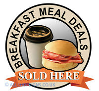 BREAKFAST MEAL DEALS Catering shop Sign Window sticker Cafe Restaurant decal
