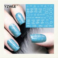 Nail Art Water Decals Stickers Smiley Face Bows Hearts Love Gel Polish (7107)