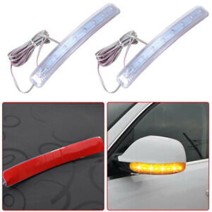 2x Car Side Mirror LED Amber Indicator Lamp Yellow Soft Turn Signal Light Strip