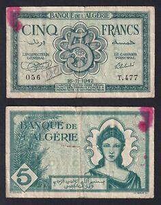 Algeria 5 francs 1942 BB-/VF-  B-02
