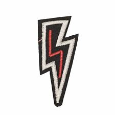 Black White Red lightning (Iron on) Embroidery Applique Patch Sew Iron Badge