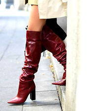 ZARA RED LEATHER HIGH HEEL OVER THE KNEE BOOTS WITH  WIDE LEG SIZE UK 3 36