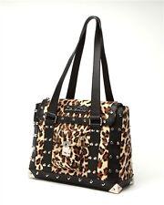 Lux de ville Mini Weekender Bag Black Matte with Leopard Studs Purse