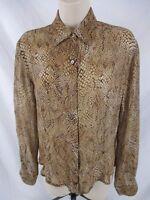 Cache Womens Silk Shirt Size Small Brown Semi Sheer Long Sleeve Button CB65F
