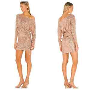 Free People Women's XS  Giselle Sequined One Shoulder Rose Gold Mini Dress
