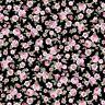 coupon de tissu patchwork shabby Juliet Rose petites roses fond noir 45x55cm