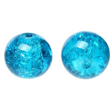 50 Turquoise Blue Glass Crackle Beads 10mm Jewellery Making J04182xe