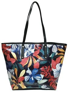 NWT Tommy Bahama Woman's Leather Tote, Black Floral Color